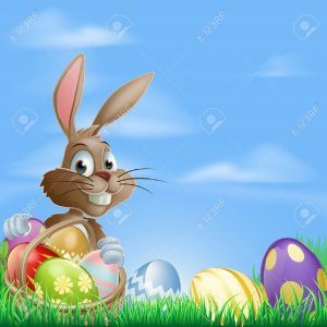 18142045-easter-background-with-copyspace-in-the-sky-featuring-a-cute-easter-bunny-and-lots-of-painted-easter
